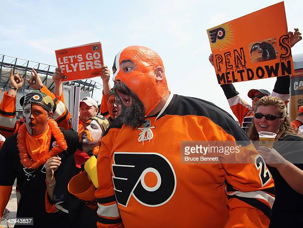 Philadelphia Flyers fans party outside the arena prior to playing the Pittsburgh Penguins in Game Three of the Eastern Conference Quarterfinals...