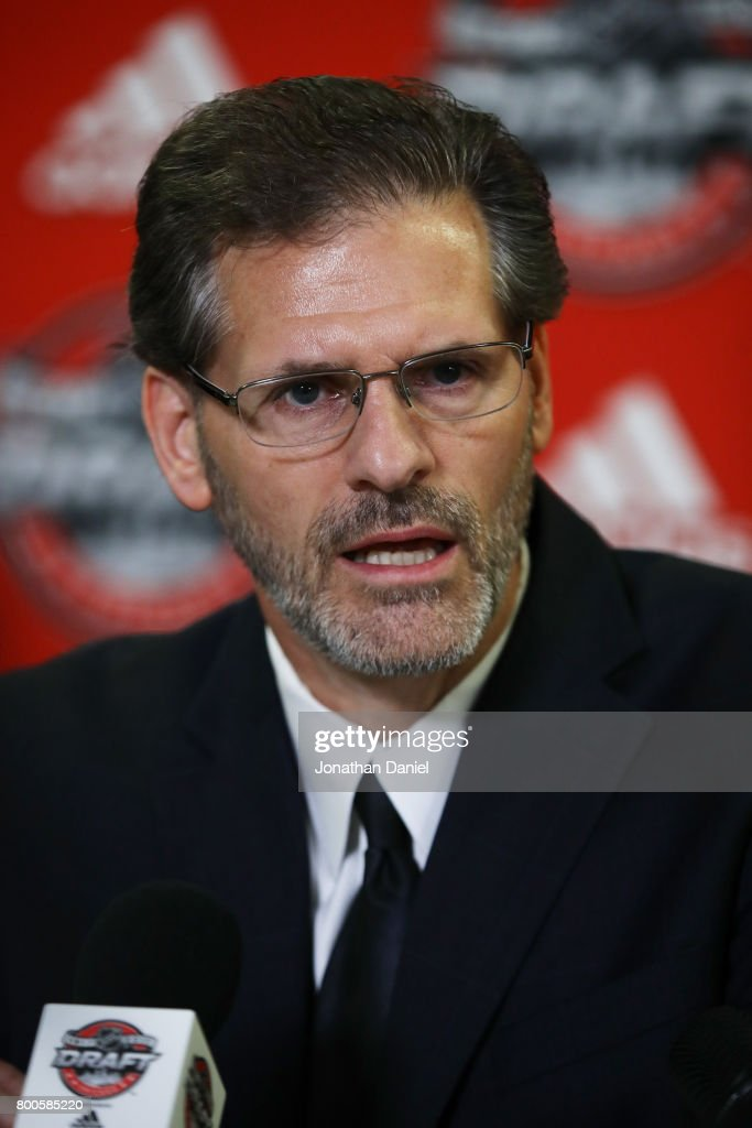 Philadelphia Flyers general manager Ron Hextall speaks to the media after the 2017 NHL Draft at the United Center on June 24, 2017 in Chicago, Illinois.