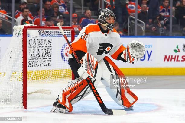 Philadelphia Flyers Goalie Anthony Stolarz in ready stance during the Edmonton Oilers game versus the Philadelphia Flyers on December 14 2018 at...