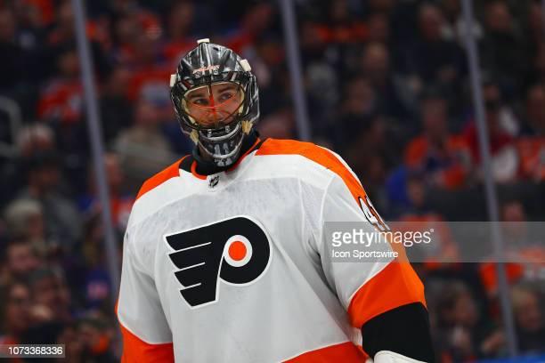 Philadelphia Flyers Goalie Anthony Stolarz takes a break between the play during the Edmonton Oilers game versus the Philadelphia Flyers on December...