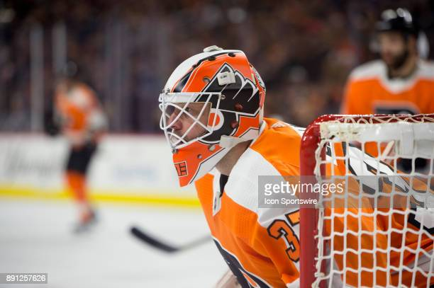 Philadelphia Flyers Goalie Brian Elliott watches for the puck in the second period during the game between the Toronto Maple Leafs and Philadelphia...