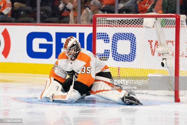 Philadelphia Flyers Goalie Martin Jones during the third period of a National Hockey League game between the Boston Bruins and the Philadelphia...