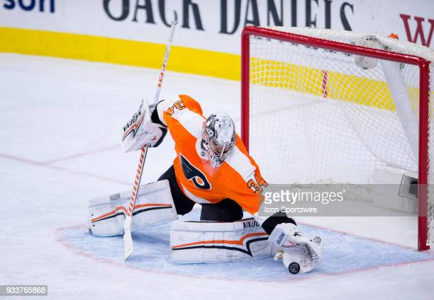 Philadelphia Flyers Goalie Petr Mrazek makes a save in the first period during the game between the Washington Capitals and Philadelphia Flyers on...