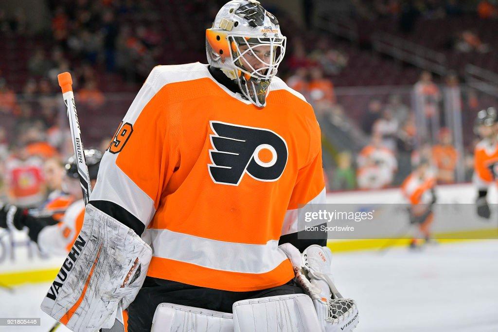 Philadelphia Flyers goaltender Alex Lyon (49) looks on during the NHL game between the Montreal Canadiens and the Philadelphia Flyers on February 20, 2018 at the Wells Fargo Center in Philadelphia PA.