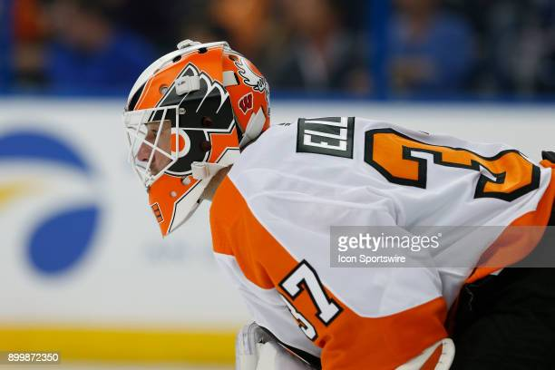 Philadelphia Flyers goaltender Brian Elliott in the second period of the NHL game between the Philadelphia Flyers and Tampa Bay Lightning on December...