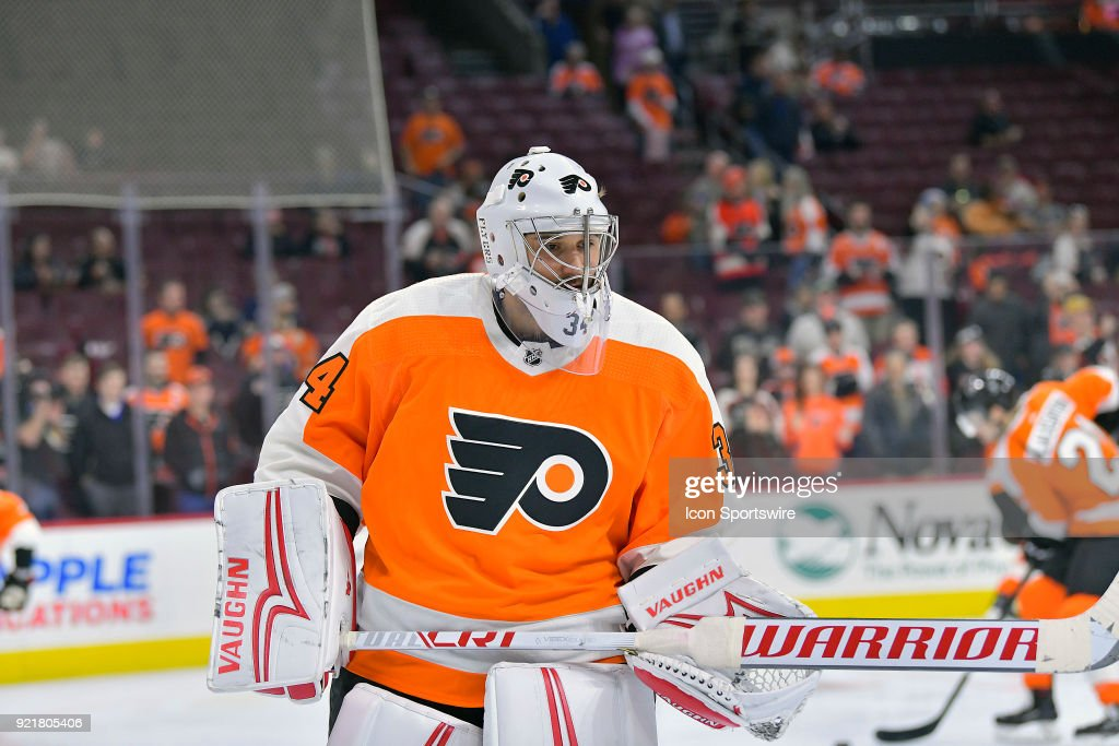 Philadelphia Flyers goaltender Petr Mrazek (34) warms up before during the NHL game between the Montreal Canadiens and the Philadelphia Flyers on February 20, 2018 at the Wells Fargo Center in Philadelphia PA.