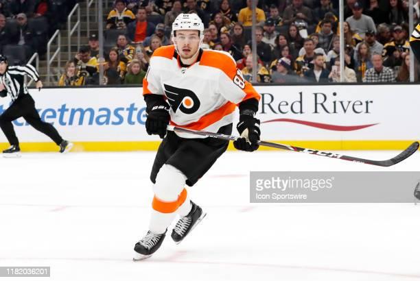 Philadelphia Flyers left wing Carsen Twarynski forechecks during a game between Boston Bruins and the Philadelphia Flyers on November 10 at TD Garden...