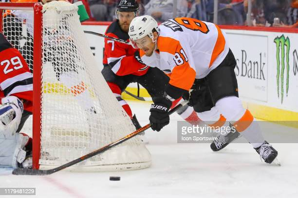 Philadelphia Flyers left wing Carsen Twarynski skates during the National Hockey League game between the New Jersey Devils and the Philadelphia...