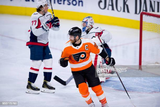 Philadelphia Flyers Left Wing Claude Giroux celebrates after a Flyers goal in the second period during the game between the Washington Capitals and...
