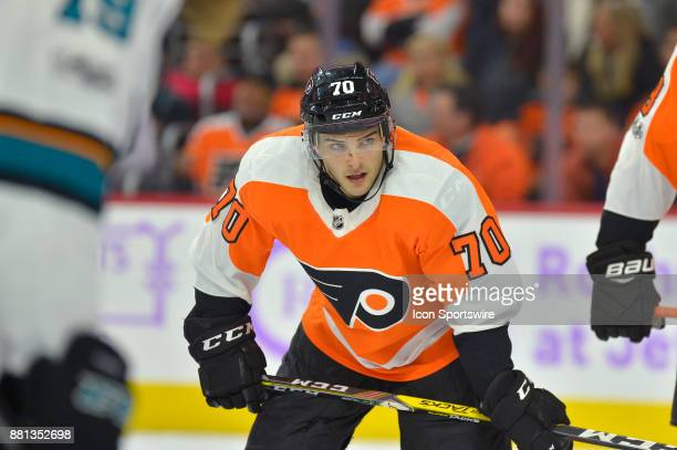Philadelphia Flyers left wing Danick Martel looks on during the NHL game between the San Jose Sharks and the Philadelphia Flyers on November 28 2017...