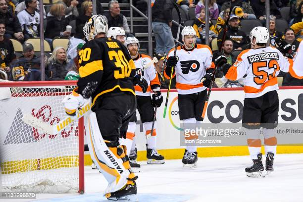 Philadelphia Flyers Left Wing James van Riemsdyk celebrates with Philadelphia Flyers Defenseman Shayne Gostisbehere after scoring the game tying goal...