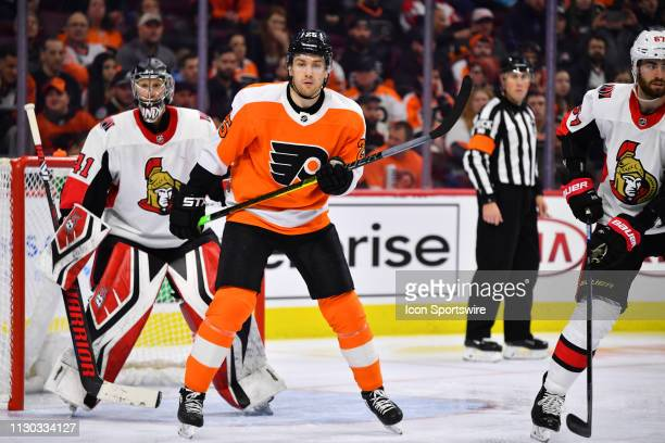 Philadelphia Flyers Left Wing James van Riemsdyk sets up in front of Ottawa Senators Goalie Craig Anderson in the third period during the game...