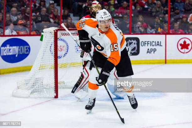 Philadelphia Flyers Left Wing Jori Lehtera looks to chase a loose puck during first period National Hockey League action between the Philadelphia...