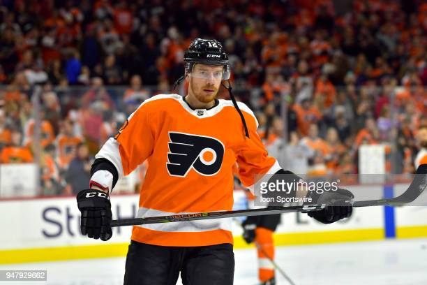 Philadelphia Flyers left wing Michael Raffl looks on before the NHL game between the Pittsburgh Penguins and the Philadelphia Flyers on April 15 2018...