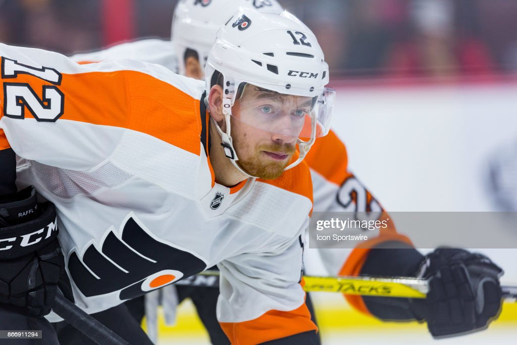 Philadelphia Flyers Left Wing Michael Raffl (12) prepares for the faceoff during second period National Hockey League action between the Philadelphia Flyers and Ottawa Senators on October 26, 2017, at Canadian Tire Centre in Ottawa, ON, Canada.