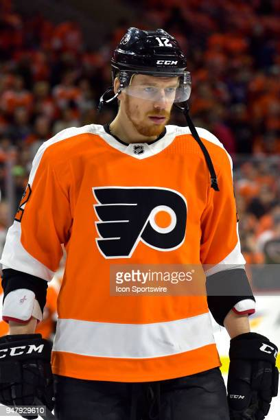 Philadelphia Flyers left wing Michael Raffl warms up before the NHL game between the Pittsburgh Penguins and the Philadelphia Flyers on April 15 2018...