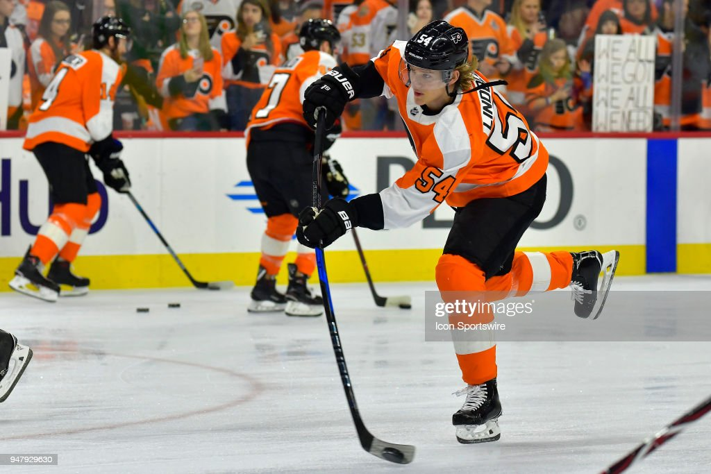 Philadelphia Flyers left wing Oskar Lindblom (54) warms up before the NHL game between the Pittsburgh Penguins and the Philadelphia Flyers on April 15, 2018 at the Wells Fargo Center in Philadelphia PA.