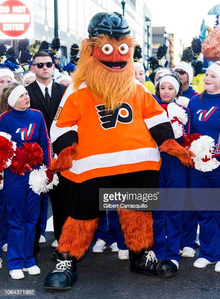 Philadelphia Flyers mascot Gritty attends the 99th Annual 6abc Dunkin' Donuts Thanksgiving Day Parade on November 22 2018 in Philadelphia Pennsylvania