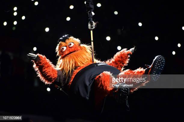 Philadelphia Flyers mascot Gritty drops into the arena before the game against the New York Rangers at Wells Fargo Center on November 23 2018 in...