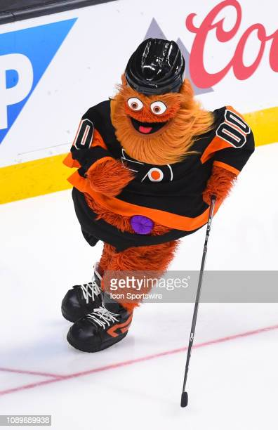Philadelphia Flyers mascot Gritty during the NHL AllStar Skills Competition at the SAP Center on January 25 2019 in San Jose CA