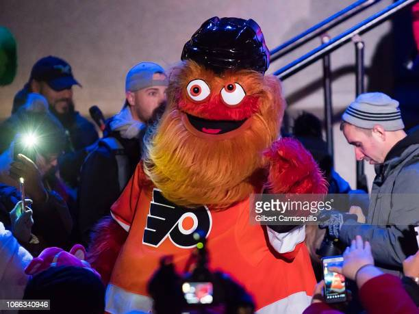 Philadelphia Flyers mascot Gritty on stage during the 2018 City Of Philadelphia Holiday Tree Lighting at Philadelphia City Hall on November 27 2018...