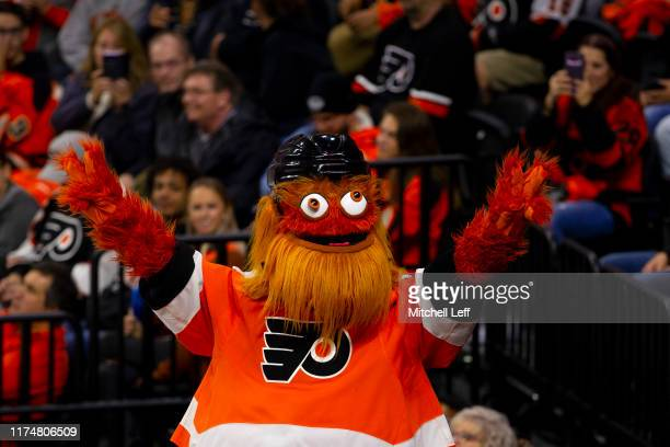 Philadelphia Flyers mascot Gritty reacts in the third period against the New Jersey Devils at the Wells Fargo Center on October 9, 2019 in...