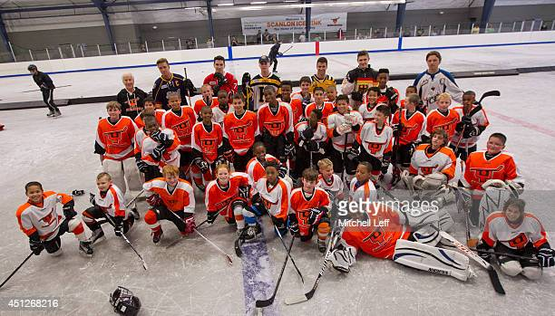 Philadelphia Flyers Owner Ed Snider Aaron Ekblad Michael Dal Colle Sam Bennett Anthony DeAngelo Leon Draisaitl Sam Reinhart and clinic participants...