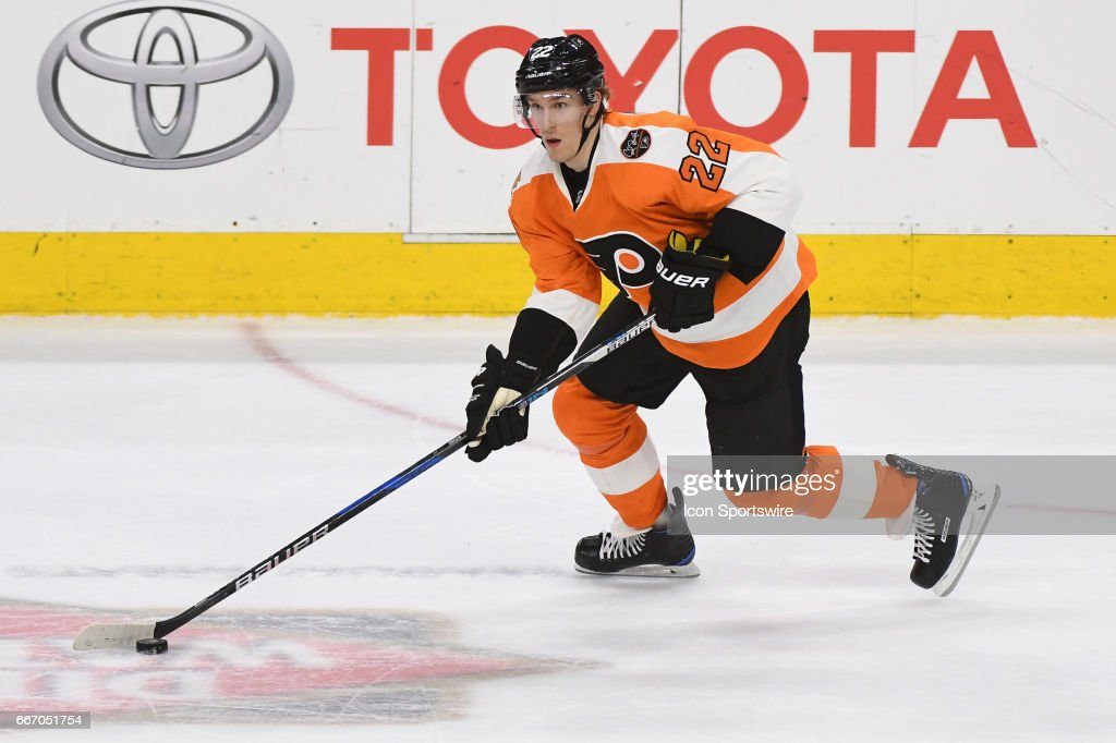 Philadelphia Flyers Right Wing Dale Weise (22) skates with the puck during a National Hockey League game between the Carolina Hurricanes and the Philadelphia Flyers at the Wells Fargo Center in Philadelphia ,PA. The Hurricanes won 4-3 in a shootout.