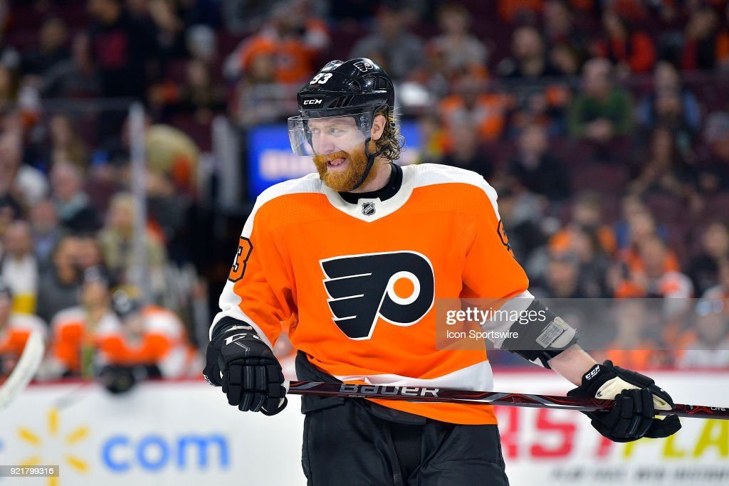 Philadelphia Flyers right wing Jakub Voracek (93) bites his tongue and looks on menacing during the NHL game between the Montreal Canadiens and the Philadelphia Flyers on February 20, 2018 at the Wells Fargo Center in Philadelphia PA.