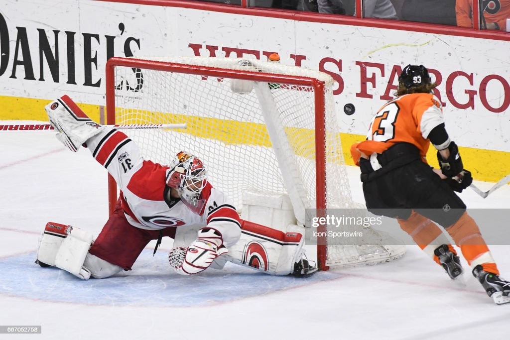 Philadelphia Flyers Right Wing Jakub Voracek (93) misses his shootout attempt during a National Hockey League game between the Carolina Hurricanes and the Philadelphia Flyers at the Wells Fargo Center in Philadelphia ,PA. The Hurricanes won 4-3 in a shootout.