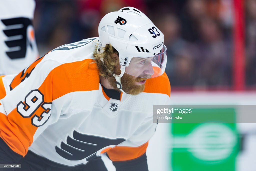 Philadelphia Flyers Right Wing Jakub Voracek (93) waits for a face-off during first period National Hockey League action between the Philadelphia Flyers and Ottawa Senators on February 24, 2018, at Canadian Tire Centre in Ottawa, ON, Canada.