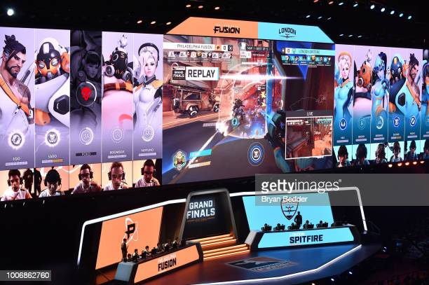Philadelphia Fusion play London Spitfire during Overwatch League Grand Finals Day 2 at Barclays Center on July 28 2018 in New York City