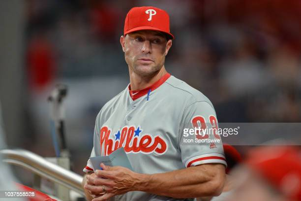 Philadelphia manager Gabe Kapler watches the action from the dugout during the game between Atlanta and Philadelphia on September 21st 2018 at...