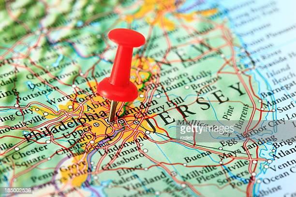 Mapa de Filadelfia, New Jersey, EE. UU.