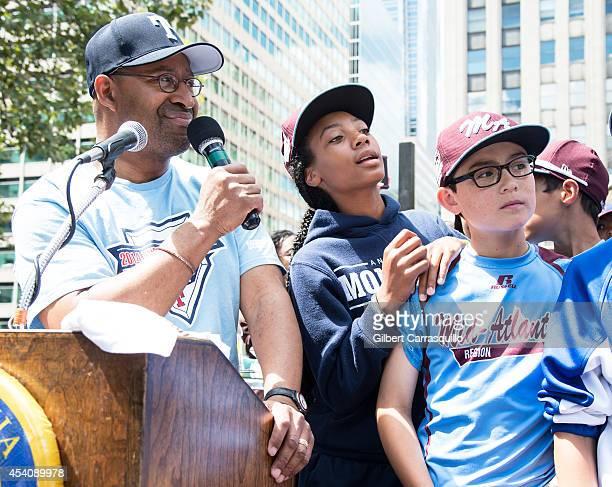 Philadelphia Mayor Michael Nutter and pitcher Mo'ne Davis of Philadelphia Little League Baseball Team Taney Dragons attend The City Of Philadelphia...