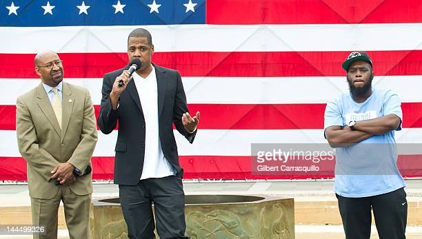 Philadelphia Mayor Michael Nutter JayZ and rapper Freeway attend the press conference announcing Budweiser Made in America music festival at...