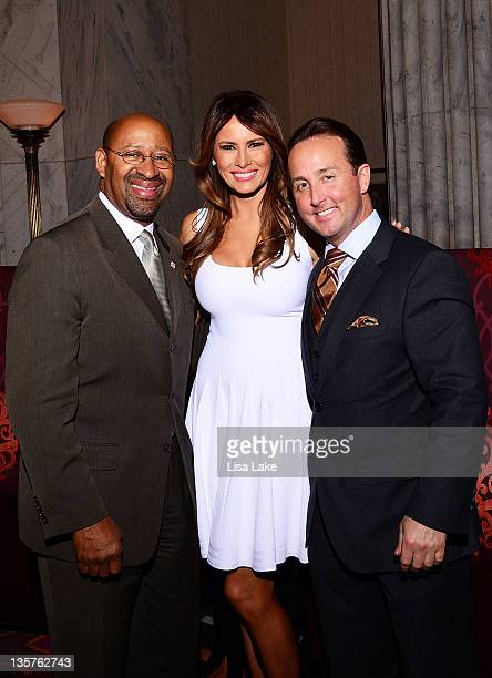 Philadelphia Mayor Michael Nutter Melania Trump and John Colabelli attend The Philadelphia Style Magazine cover event hosted by Melania Trump at Ritz...
