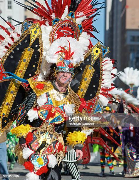 philadelphia mummer at annual new years day parade - mummers parade stock pictures, royalty-free photos & images