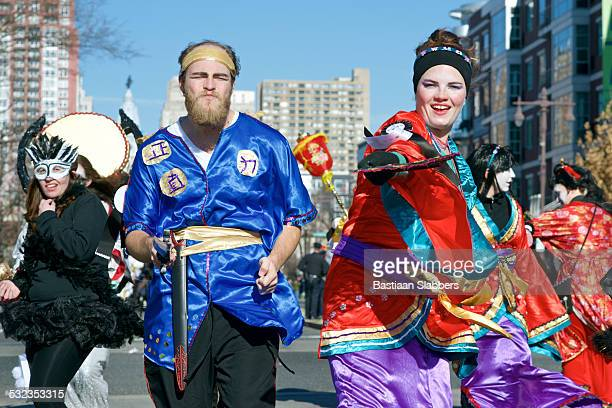 philadelphia mummer's parade - basslabbers, bastiaan slabbers stock pictures, royalty-free photos & images