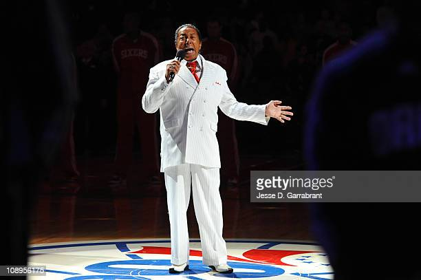 Philadelphia native and RB songwriter Walter Bunny Sigler sings the National Anthem before a game on February 9 2011 at the Wells Fargo Center in...