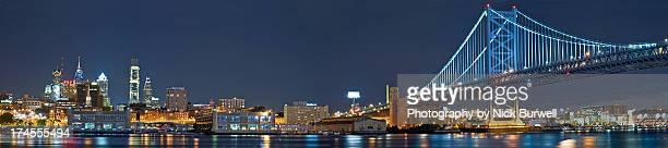philadelphia @ night - philadelphia skyline stock pictures, royalty-free photos & images