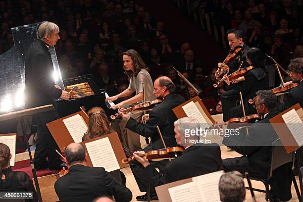 """Philadelphia Orchestra performing at Carnegie Hall on Friday night, December 6, 2013.This image:Helene Grimaud performing Brahms's """"Piano Concerto..."""