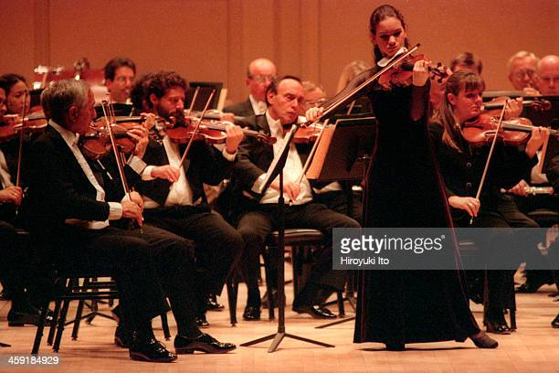 Philadelphia Orchestra performing at Carnegie Hall on Tuesday night October 10 2000This imageHilary Hahn performing Brahms's 'Violin Concero in D...
