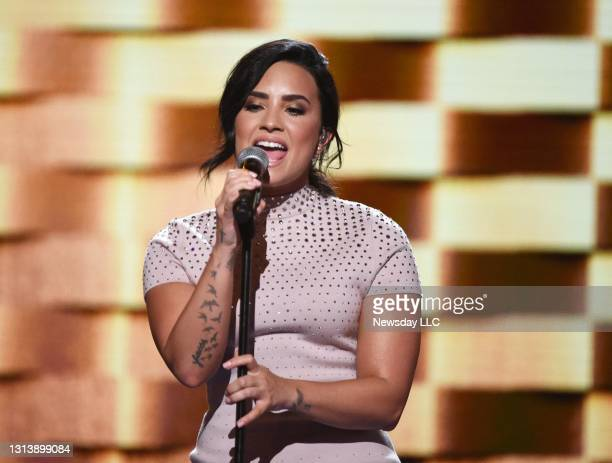 Demi Lovato sings at the Democratic National Convention at the Wells Fargo Center in Philadelphia, Pennsylvania on July 25, 2016.