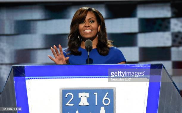 First Lady Michelle Obama speaks at the Democratic National Convention at the Wells Fargo Center in Philadelphia, Pennsylvania on July 25, 2016.