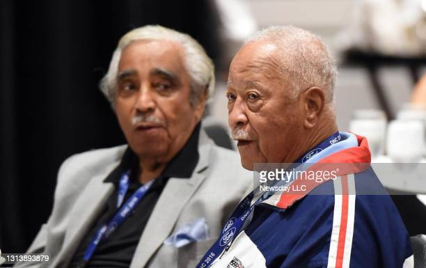 New York Congressman Charles Rangel and David Dinkins, former Mayor of New York City, sit at the New York Delegation Breakfast during the Democratic...
