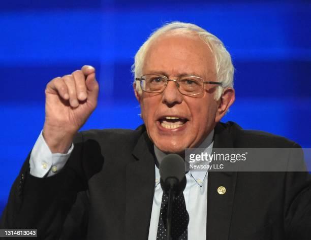 Senator Bernie Sanders speaks at the Democratic National Convention at the Wells Fargo Center in Philadelphia, Pennsylvania on July 25, 2016.