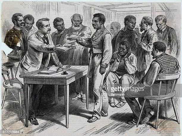 11/4/1876 Philadelphia PA the Colored Waiters at Mercer's 'Southern Restaurant' Swearing in for the Reform Presidential Candidates Illustration