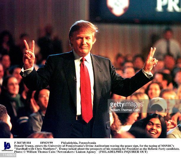 Philadelphia Pennsylvania Donald Trump enters the University of Pennsylvania's Irvine Auditorium waving the peace sign for the taping of MSNBC's...