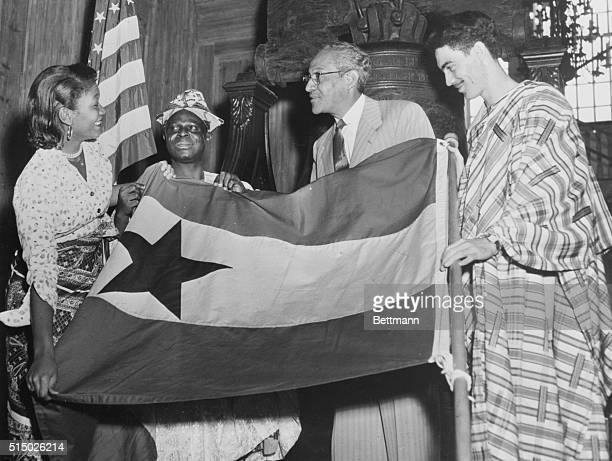 Philadelphia Pennsylvania Ghana Flag Unfurled at Independence Hall Ceremonies at the Liberty Bell celebrate the creation of the new African nation of...